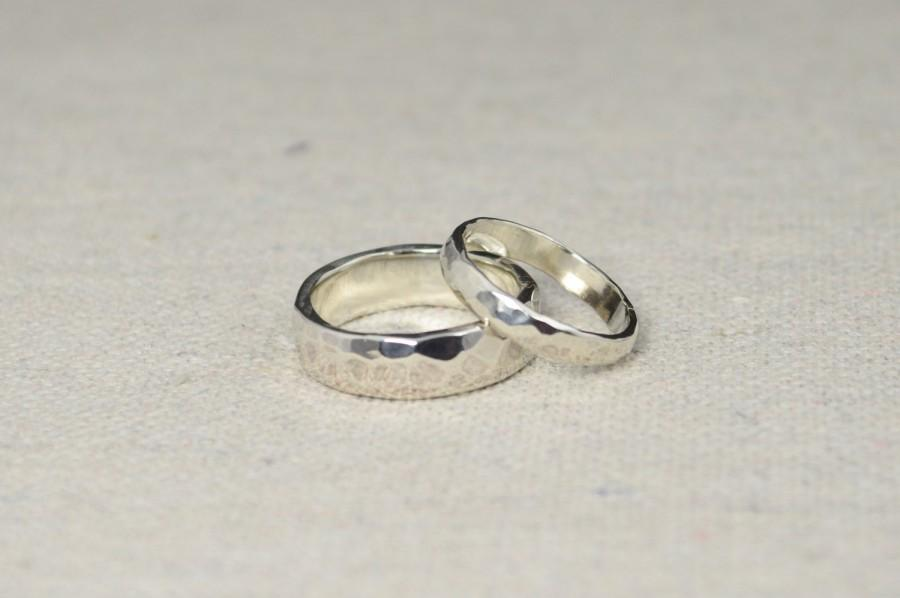Hammered Silver Wedding Bands Rustic Wedding Rings Wedding Ring