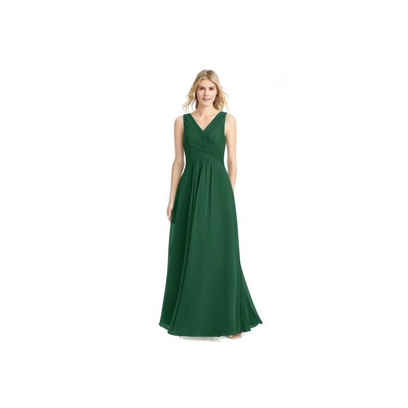 Mariage - Dark_green Azazie Flora - Floor Length V Back V Neck Chiffon Dress - Charming Bridesmaids Store