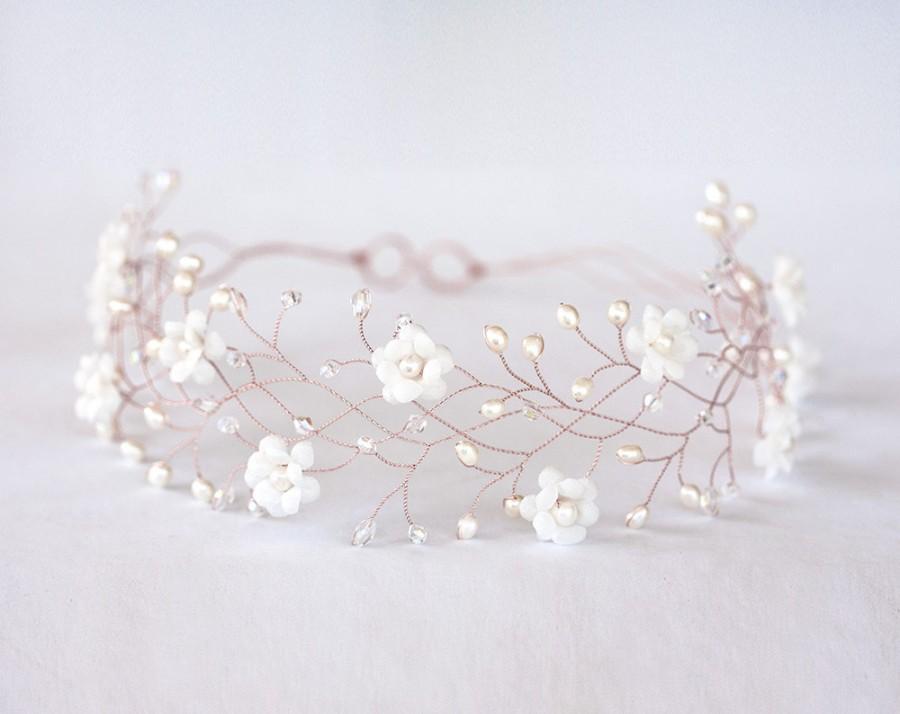 Wedding - 32_Rose gold hair accessories, Flower rose gold hair crown, Flower crown, Wedding hair accessories, Wedding crown, Bridal hair accessory