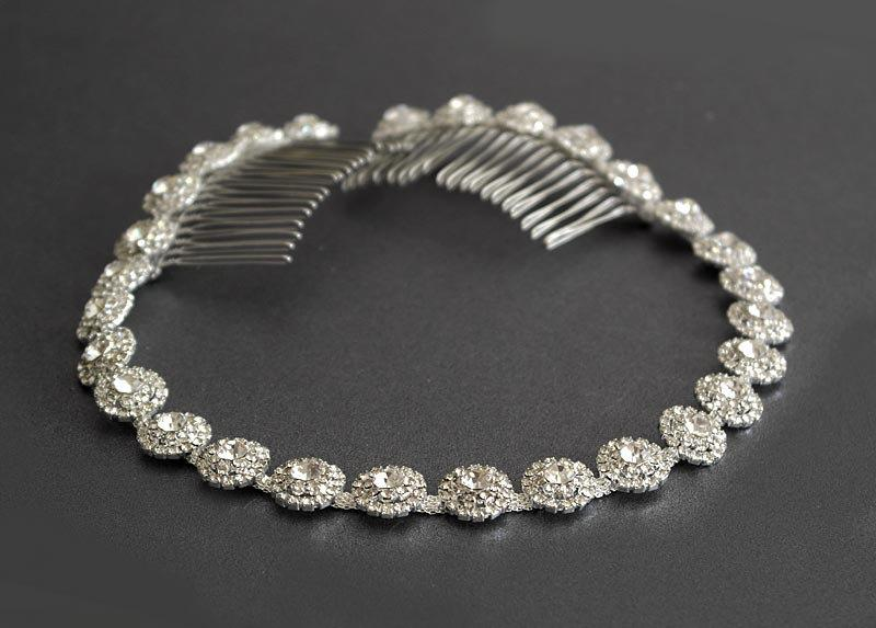 Wedding - Wedding headpiece, Silver Wedding Headband, Rhinestone Headband, Hair Tiara, Flower Girl,Hair Jewelry, Bridesmaid, Hair Accessory-HA019