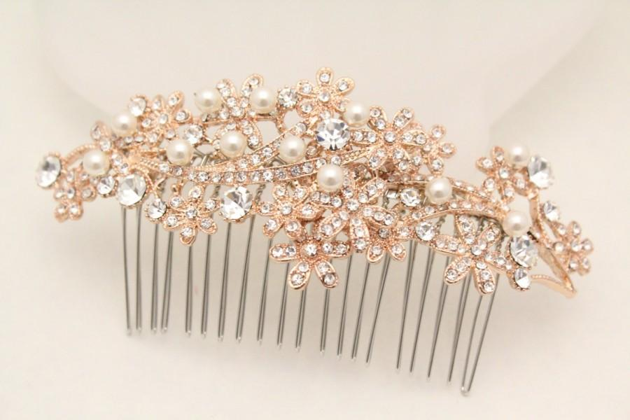 Wedding Hair Accessories Wedding Hair Comb Rose Gold Tone Hair Piece