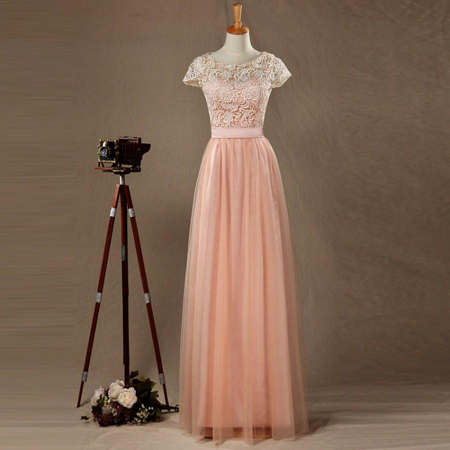 a472d2ec7333 Blush Tulle Lace Bridesmaid Dress, Round Neck Short Sleeves Full Tulle skirt  with Ruching,Floor Length Elegant Dress,Prom Dress,Party Dress