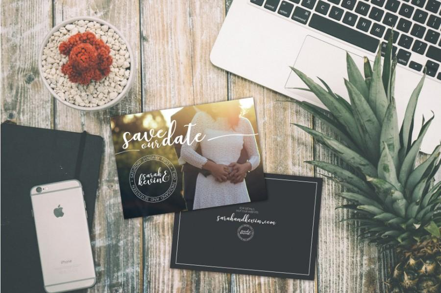 """Mariage - Custom Flat Wedding Save The Date Cards (Set of 100) 5"""" x 7"""""""