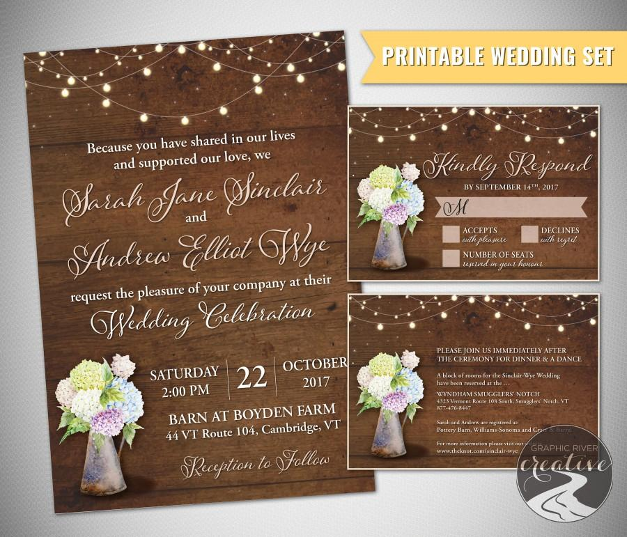 Mariage - PRINTABLE Personalized Barnboard Farmhouse Rustic Pitcher Wedding Invitation Set, RSVP, Mason Jar, Metal, Wood, Floral, Lights, Digital File