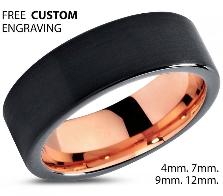 Hochzeit - Black Tungsten Ring Rose Gold Wedding Band Ring Tungsten Carbide 7mm 18K Tungsten Ring Man Wedding Band Male Women Anniversary Matching