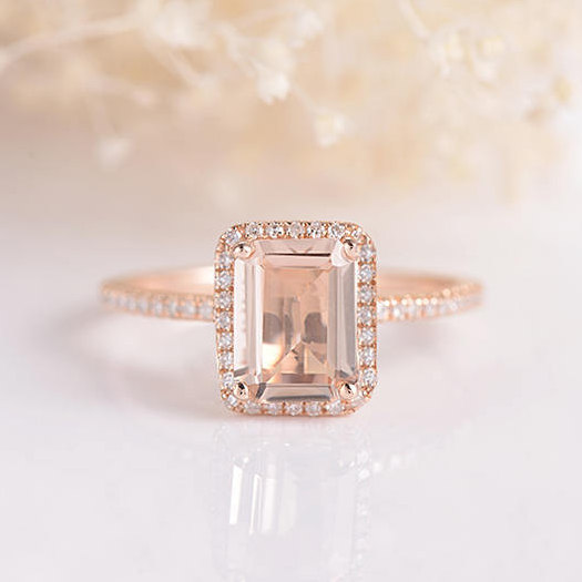 morganite engagement ring rose gold emerald cut wedding ring unique pink morganite anniversary promise minimalist ring halo diamond bridal - Emerald Cut Wedding Ring