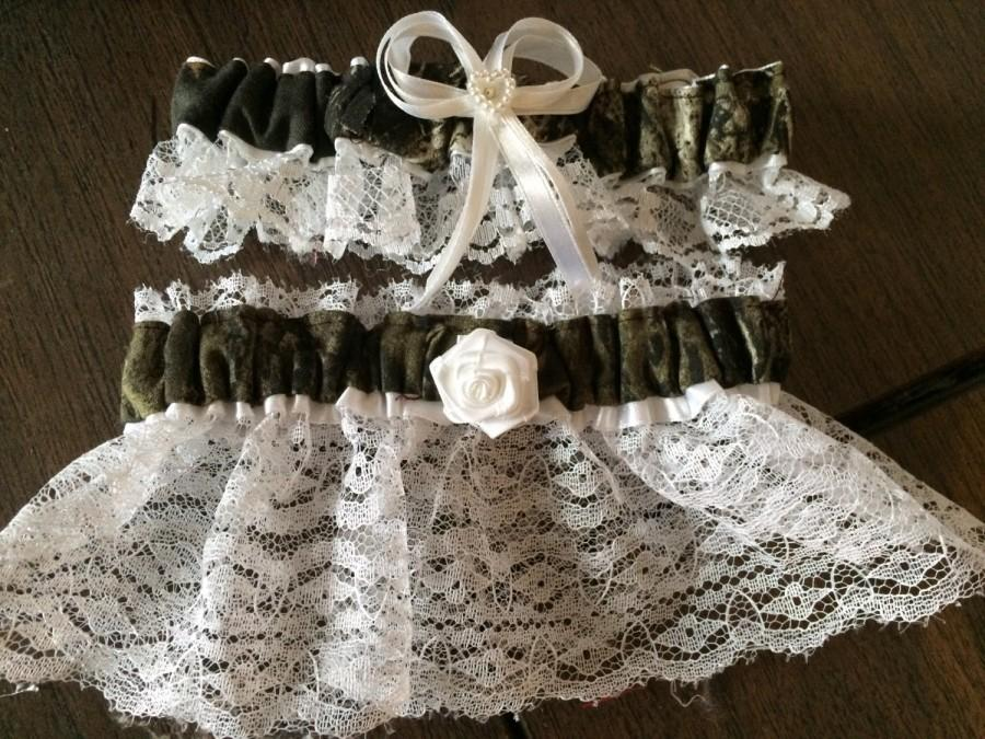 Camouflage Camo Wedding Bridal Lace Trim Garters Set Regular ...