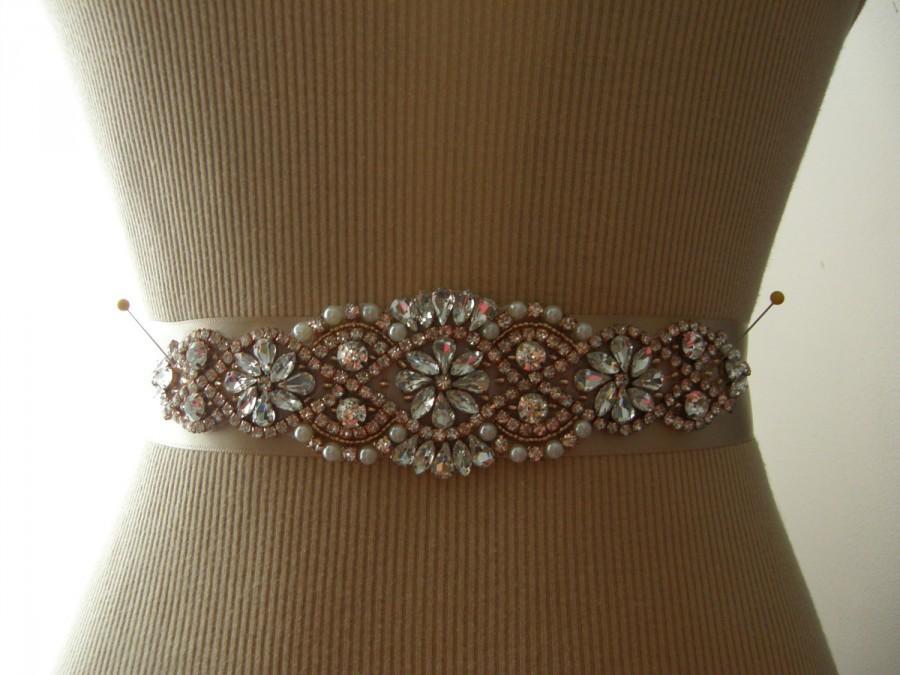 Свадьба - Sale, Rose Gold Wedding Belt, Bridal Belt, Bridesmaid Belt, Sash Belt, Rose Gold, Crystal Rhinestone & Pearl