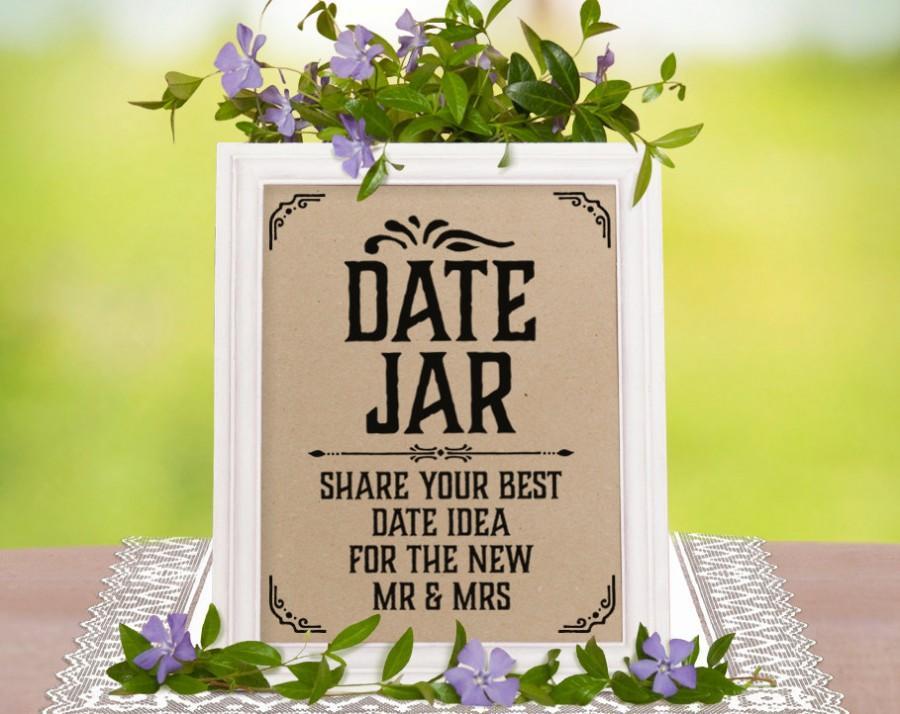 Mariage - Date jar sign. Rustic wedding decor. Wedding shower decorations. Wedding games. Kraft paper printable sign. Classic wedding typography print