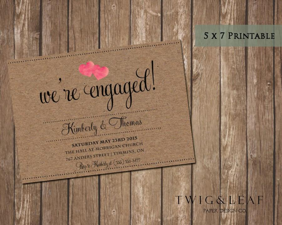 Mariage - Kraft Paper Watercolour Heart Rustic Engagement Party Invitation- Barn Rustic Engagement Invitation