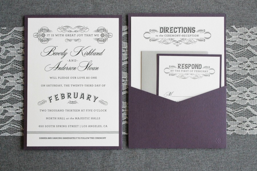 Purple Wedding Invitation, Gray Pocket Wedding Invitation, Art Deco ...
