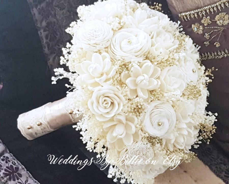 Ivory Champagne Sola Bouquet Ivory Gold Sola Wedding Flowers