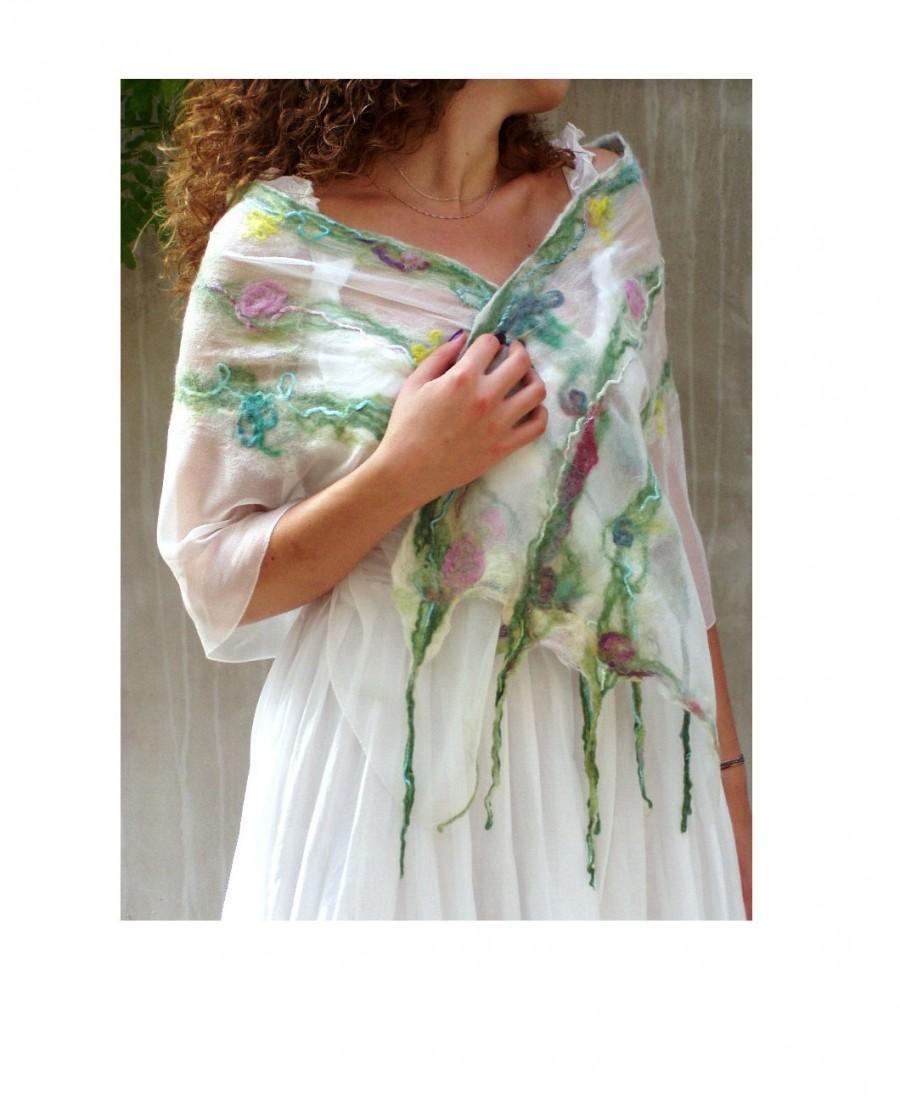 Mariage - Pastel Spring floral fairy nuno felt scarf feminine luxury merino silk