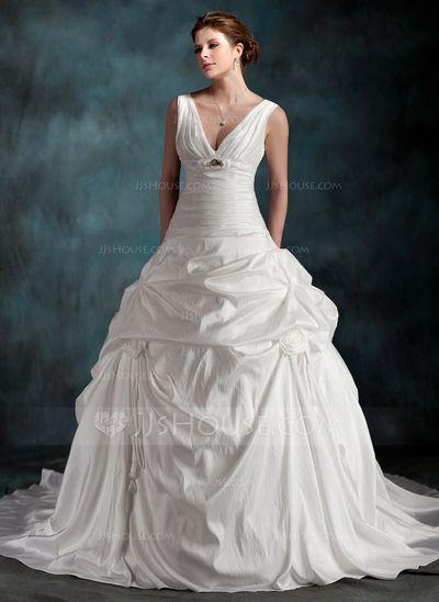 Wedding - A-Line/Princess V-neck Chapel Train Taffeta Wedding Dress With Ruffle Beading Flower(s) (002001265)