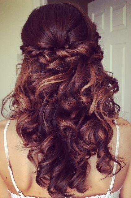 Half Up Half Down Hairstyle For Curly Hair Prom Long