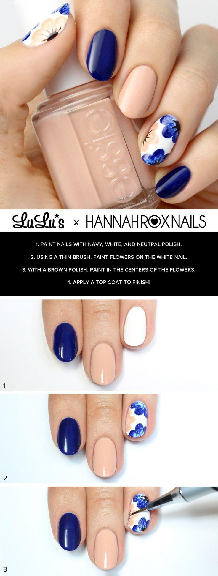 Boda - Mani Monday: Nude And Navy Blue Floral Nail Tutorial (Lulus.com Fashion Blog)