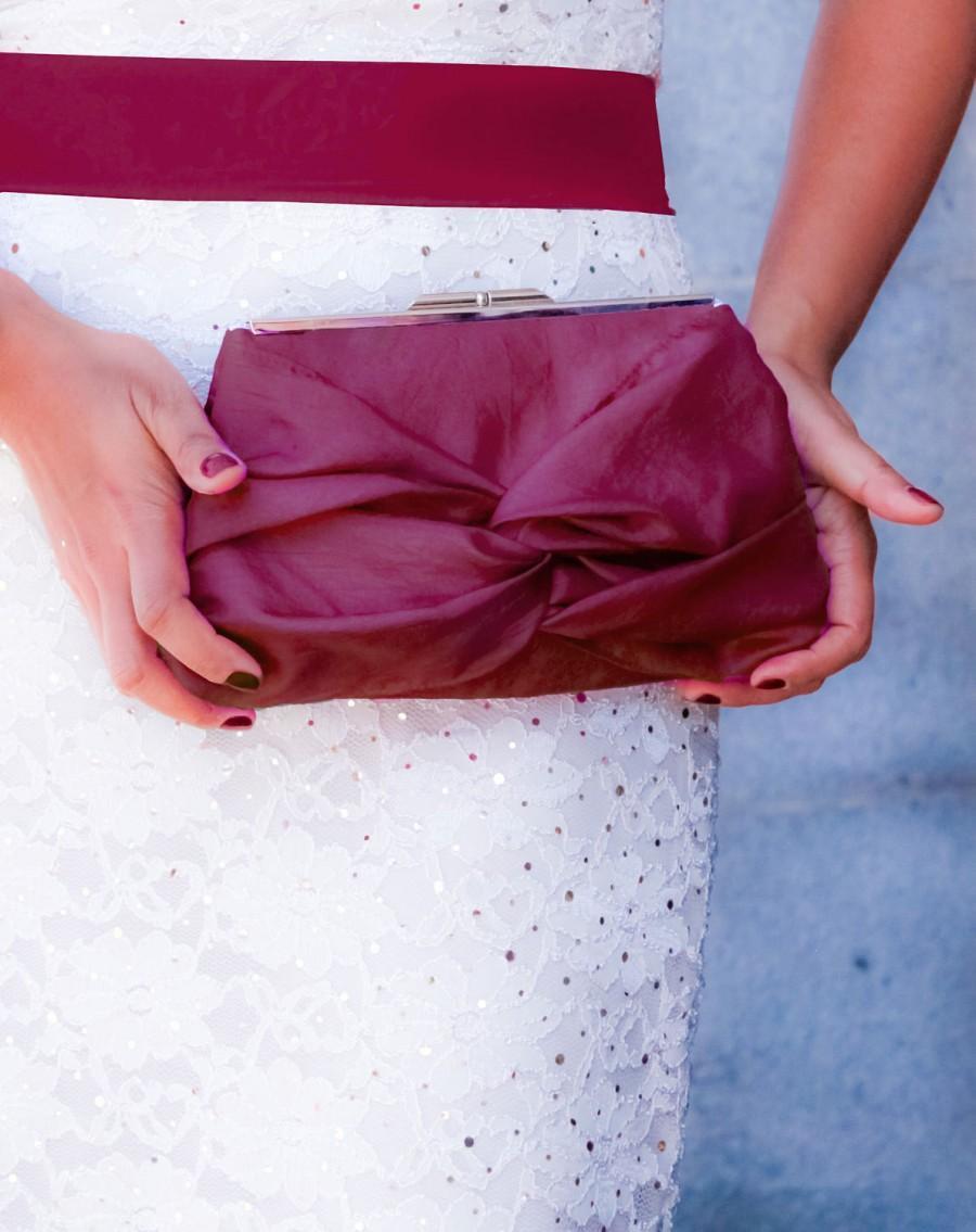 زفاف - Maroon Knot Bow Wedding Clutch With Metal Clasp- Bridesmaid Gift Bag- 32 Colors Available
