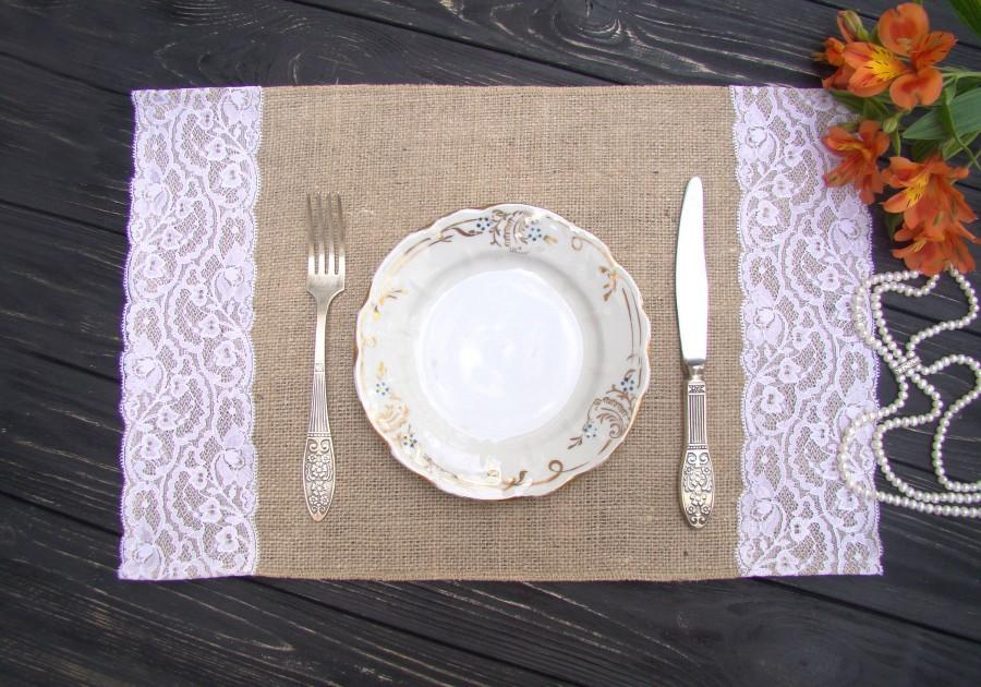 Burlap And Lace Placemat Wedding Table Setting Rustic Table Topper Burlap  Placemat Hessian Table Runner Bohemian Overlay Farmhouse Decor   $6.35 USD