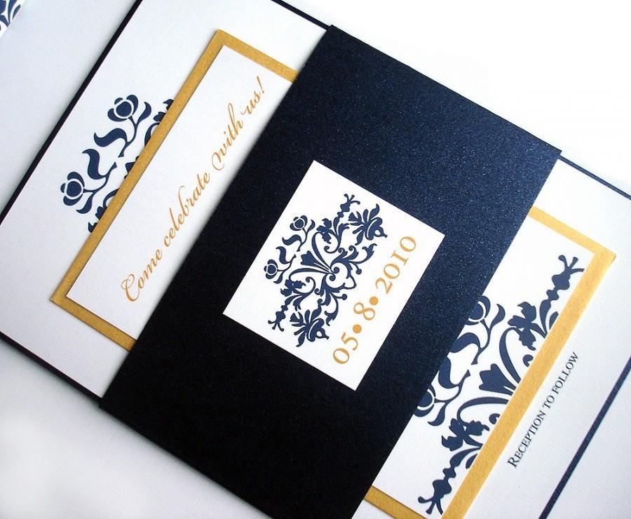 Navy Blue Wedding Invitation Set Elegant Wedding Invitations