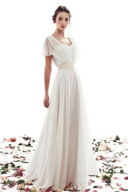 Wedding - A-line Lace-up Simple Short Sleeves Vintage Wedding Dress
