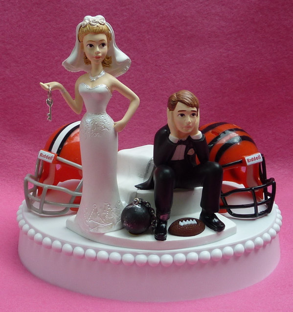 Wedding Cake Topper Team Rivalry Football House Divided Ball And