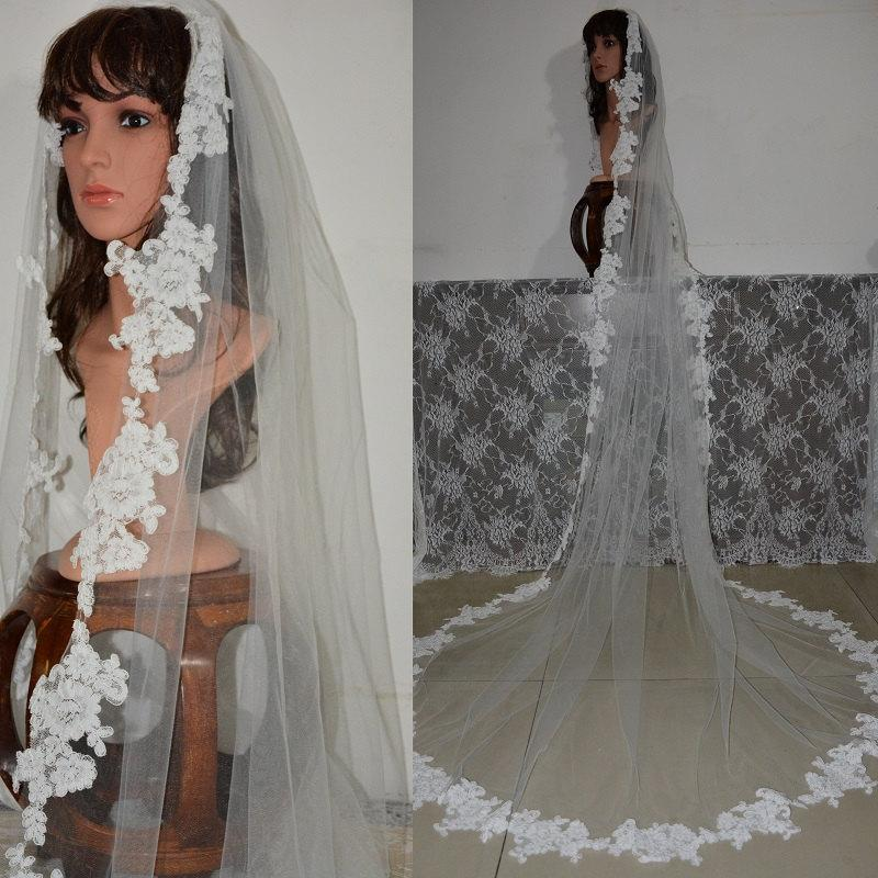 Hochzeit - Cathedral Alencon Lace Veil-1 Tier Lace Cathedral Wedding Veil-Long Lace Tulle Bridal Veil 611