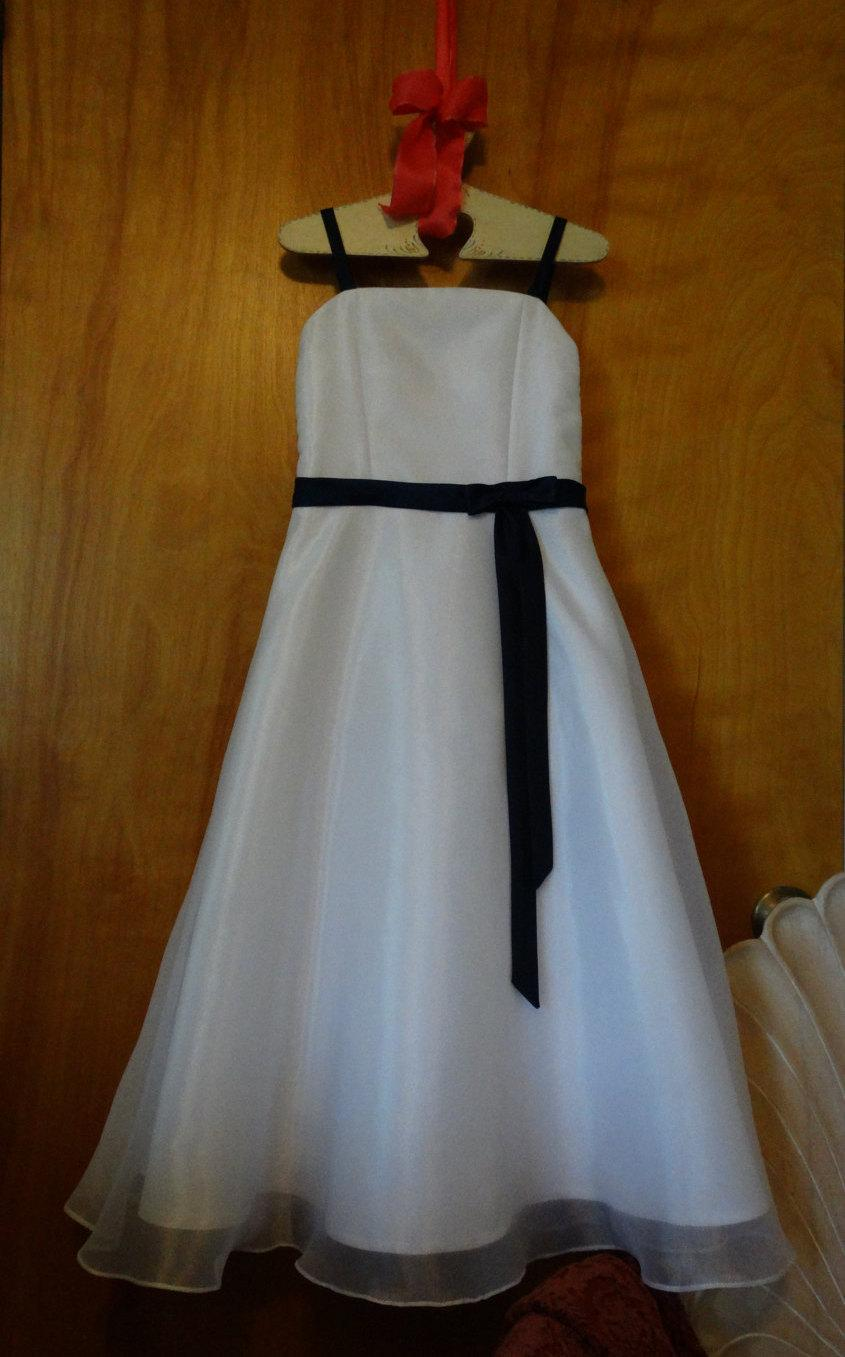 White With Navy Blue Flower Girl Dress With Matching Shoulder Shawl