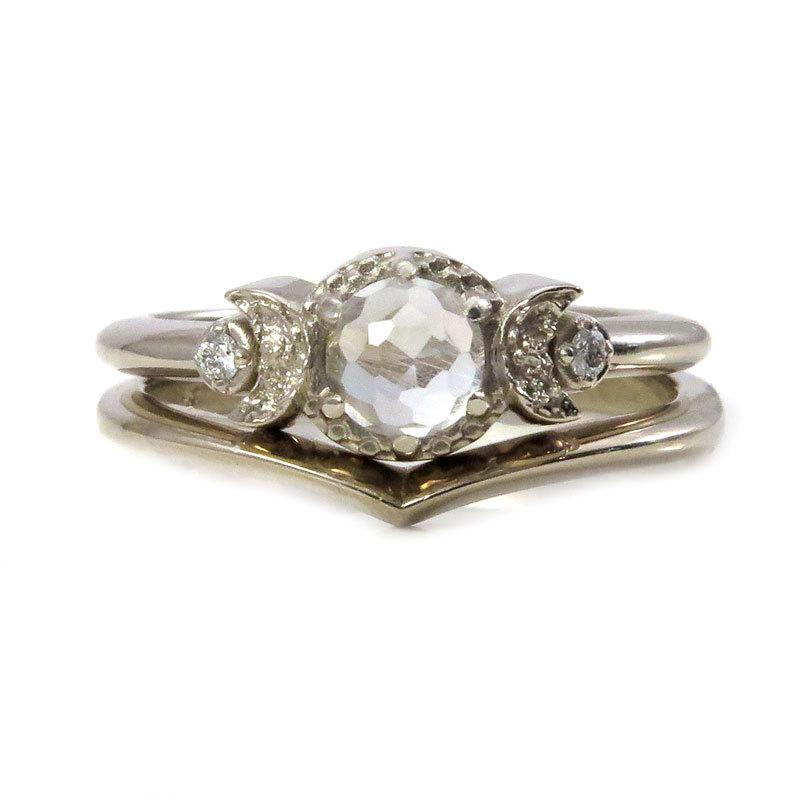 Mariage - White Topaz and White Diamond Moon Ring with Chevron Nesting Wedding Band - White Gold