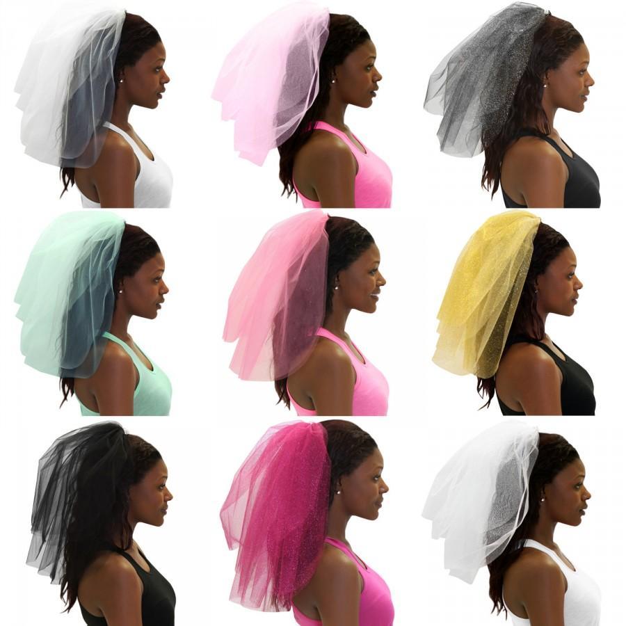 Hochzeit - Sparkle Tulle Veil - Bachelorette Party Veil, White Bachelorette Veil, Bachelorette Party, Bridal Shower Veil, Hen Party Veil