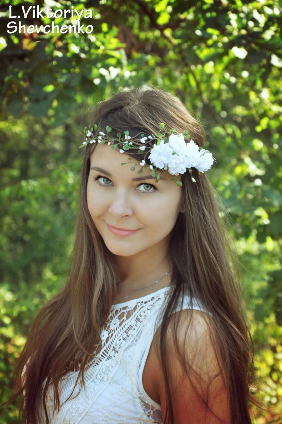 Hochzeit - Boho Bridal Crown Wedding  Flower Wreath Newborn Headpiece Wreath Flower Baby Newborn Headband Flower Hair Wreath White Flower Girl crown