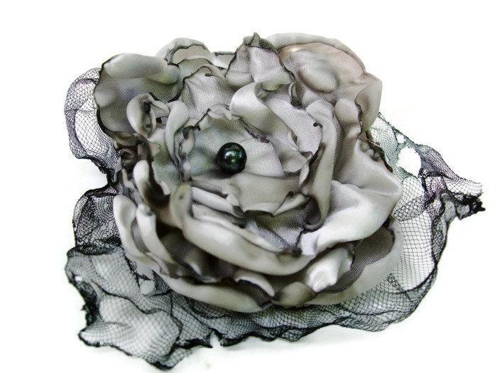 Wedding - Wedding Hair flower, Grey Flower Accessory, Hair Clip or Brooch, Made To Order