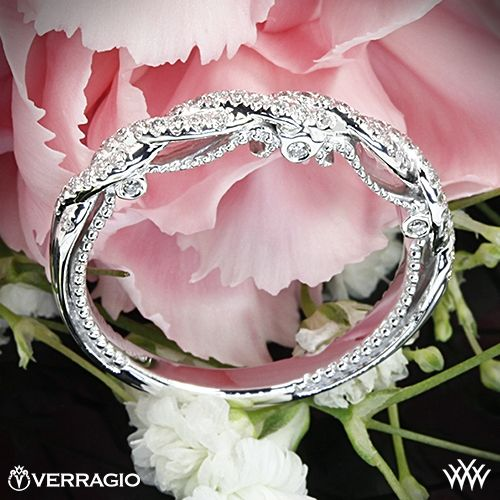 Wedding - Platinum Verragio INS-7074W Beaded Twist Diamond Wedding Ring