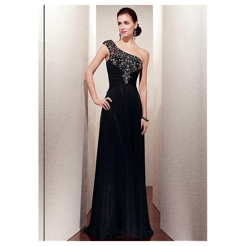 Wedding - Stylish Chiffon A-line One Shoulder Neckline Full Length Black Mother of the Bride Dress - overpinks.com