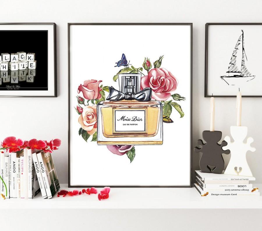 Wedding - Miss Dior, Miss Dior perfume, fashion illustration, fashion poster, Dior print, Miss Dior print, fashion print, gift for her, Christian Dior