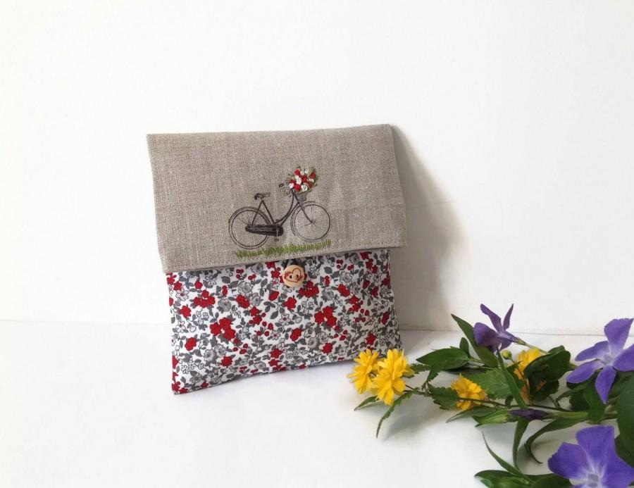 Hochzeit - Red flowers Clutch Bag, Fabric Cosmetic Bag, Printed Bicycle Clutch Bag, Embroidered Make Up Bag , Linen it cosmetic , Country  clutch