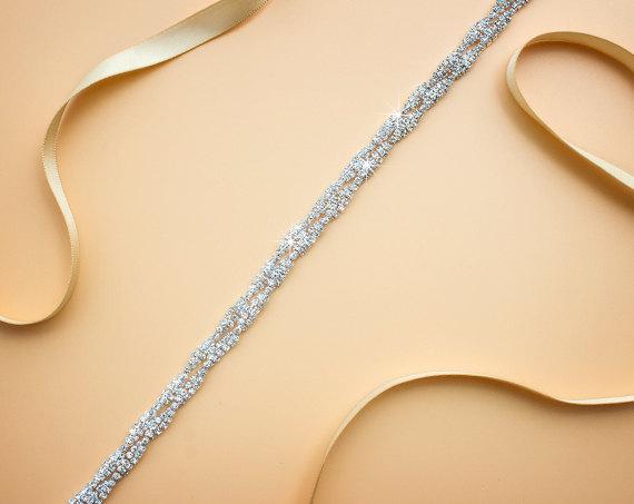 Mariage - Bridesmaids Belt, Bridal Belt, Thin Bridal sash,Thin rhinestone belt Thin headband, ,Wedding belt, Dressy Belt