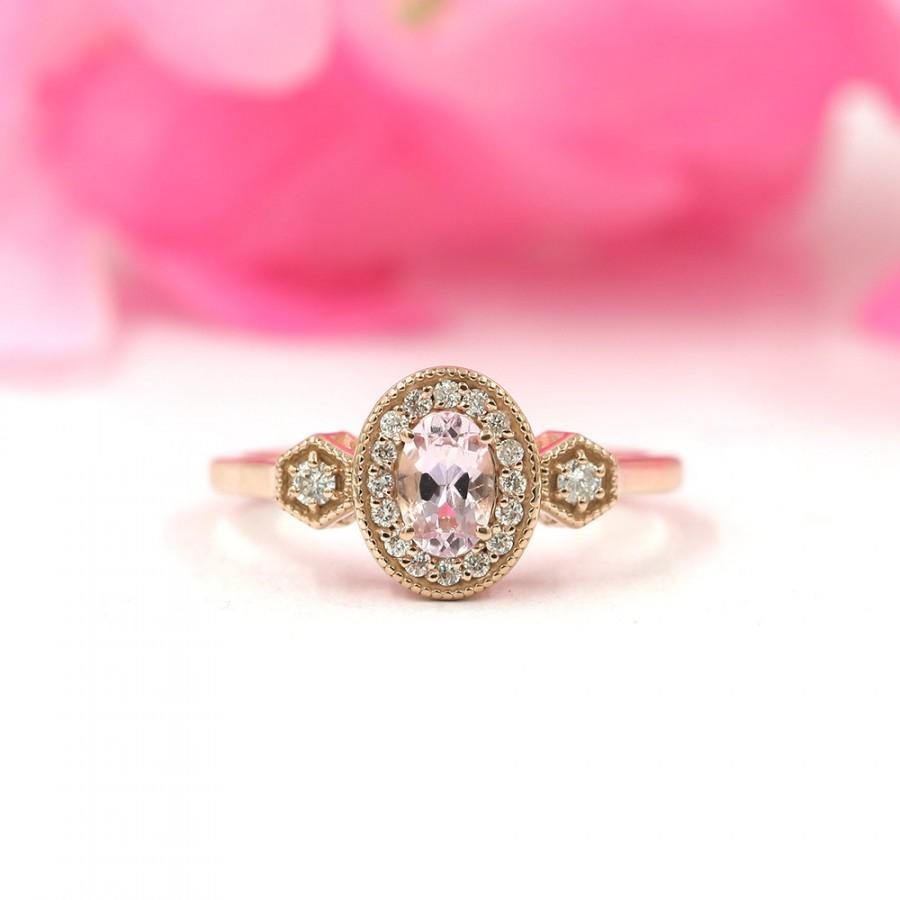 Morganite Engagement Ring For Women.Morganite Rose Gold Diamond ...