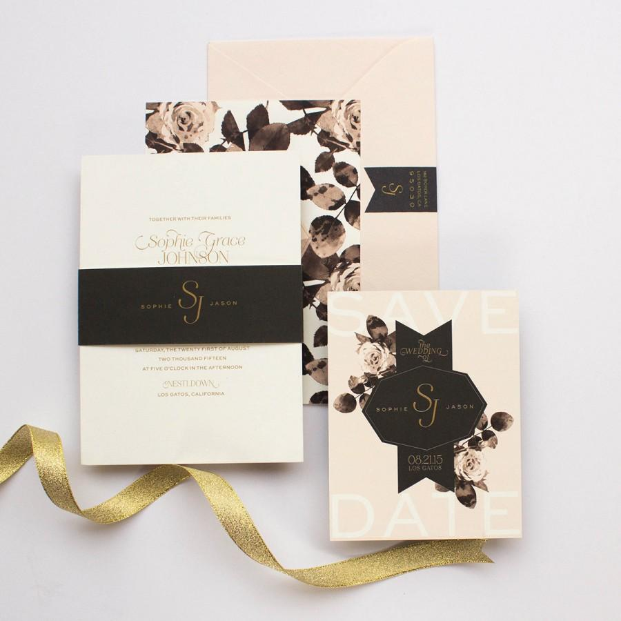 Свадьба - Floral Wedding Invitation, Black and Gold, Modern Wedding Invitation, Pink Roses, Elegant Wedding Invitation - Geo Floral
