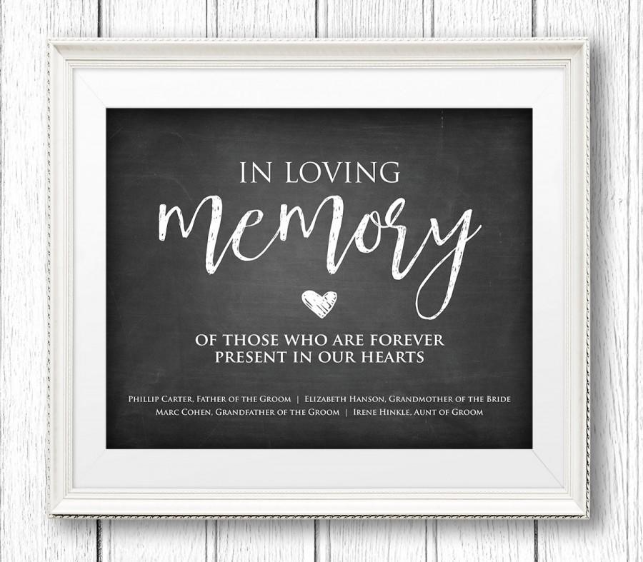 In Loving Memory Wedding Sign, Instant Download, Personalize Names ...