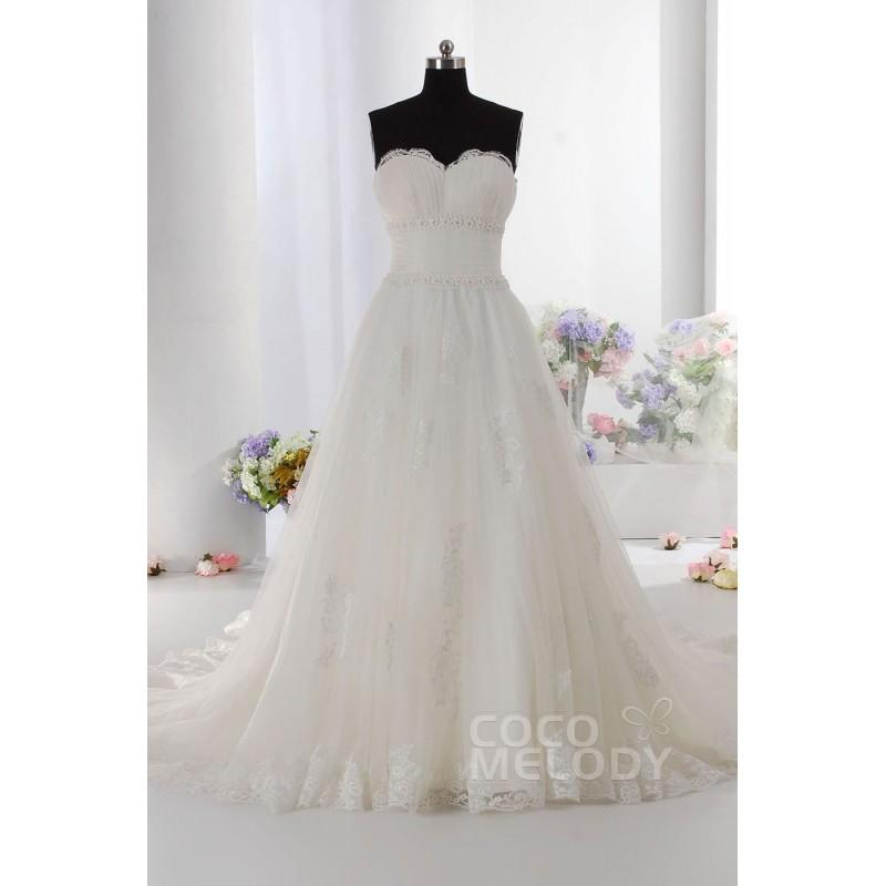 Wedding - New Style A-Line Sweetheart Dropped Train Tulle Ivory Sleeveless Zipper With Buttons Wedding Dress with Appliques h2ai0015 - Top Designer Wedding Online-Shop