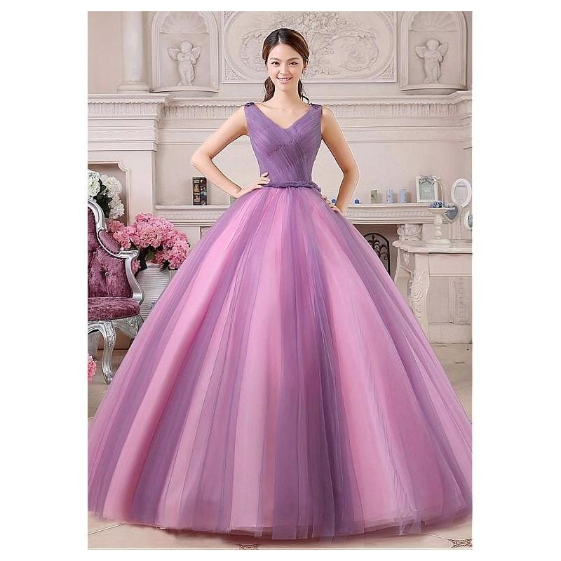 Hochzeit - Marvelous Tulle V-neck Neckline Ball Gown Quinceanera Dresses with Handmade Flowers - overpinks.com