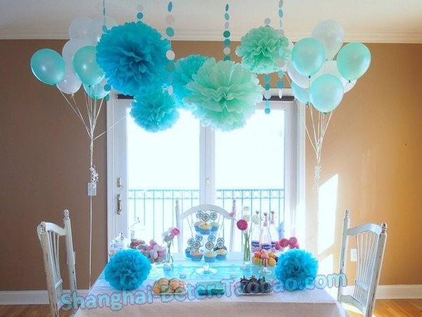 Свадьба - Beter Gifts® 35cm婚禮佈置DIY歐式蒂凡尼色紙花球BETER-ZH037酒店裝飾佈置Decoration