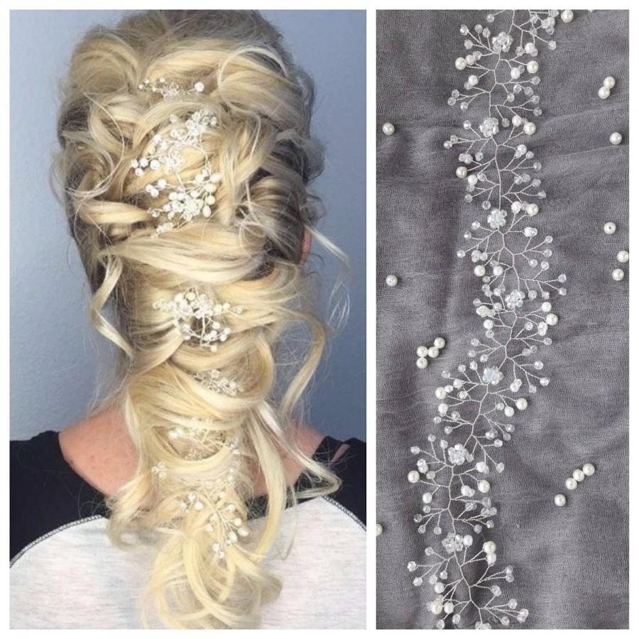 Hochzeit - Bridal hair vine Criystal hair piece Wedding headpiece Baby breath headband Bohemian Halo Pearl Wreath Silver ornament Wedding hair vine