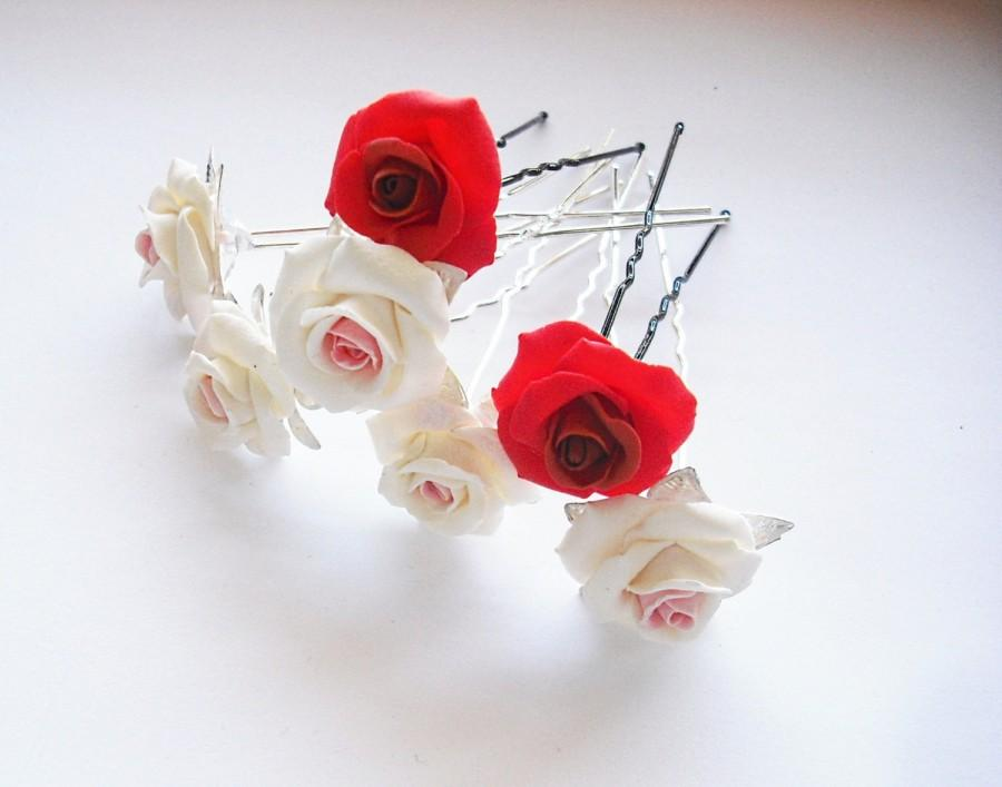 Свадьба - Love Rose Wedding Hair, One Accessory Bobby Hair Pin for Women, Wedding Hair Accessory Pin Bridesmaid Jewelry, Bridal hair pin