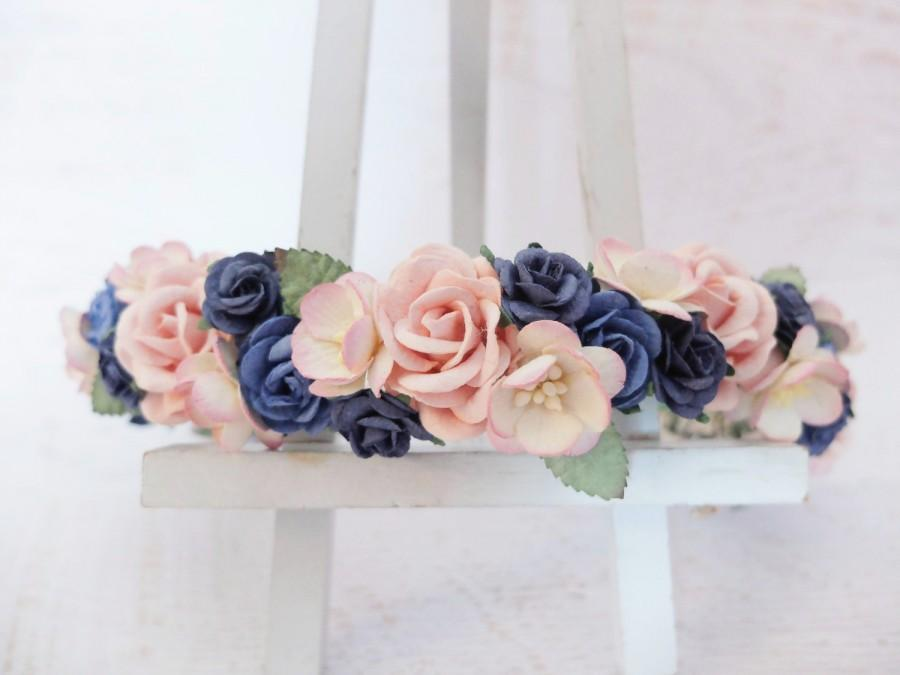 Свадьба - Navy blue and pink flower crown - wedding floral hair wreath - flower headpiece for girls - flower hair accessories