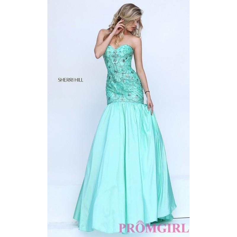Wedding - Drop Waist Beaded Sweetheart Sherri Hill Prom Dress - Discount Evening Dresses