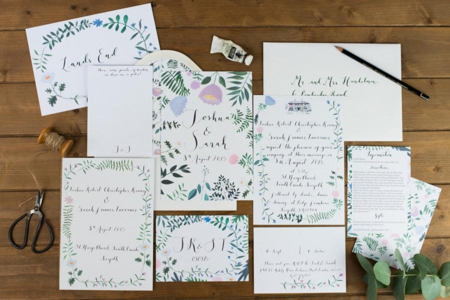 زفاف - Customisable Printable Illustrated Floral Wild Flower Wedding Invitation - bespoke calligraphy