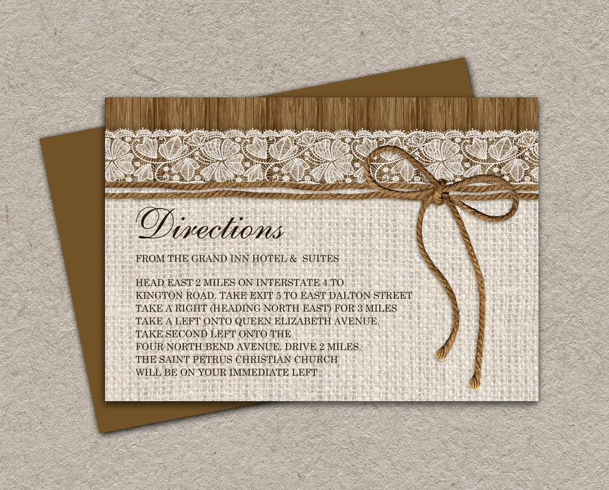 Hochzeit - DIY Printable Rustic Wedding Direction Cards Enclosure Cards With Burlap And Lace, Wedding Information Cards, Wedding Invitation Inserts