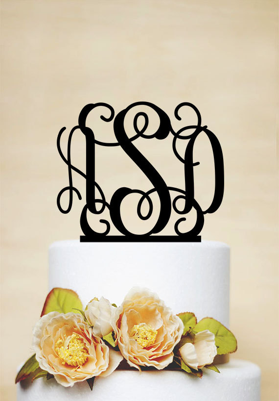 Initials Cake TopperMonogram Topper Personalized Wedding TopperElegant TopperBirthday I006