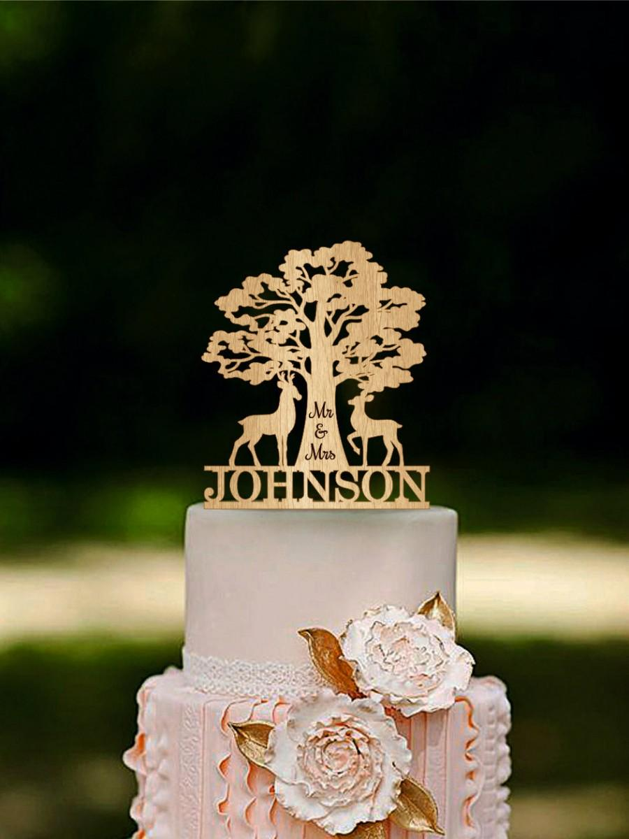 Deer Mr Mrs Wedding Cake Topper Wooden Last Name Topper Deer